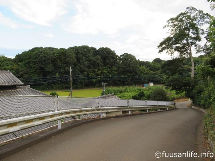 坂道と田園の写真