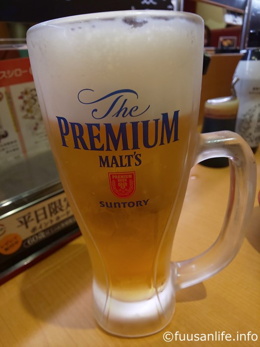 スシロー生ビールジョッキ(プレミアム・モルツ)の写真