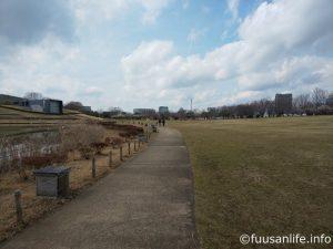 人がいない休日の都市公園の写真